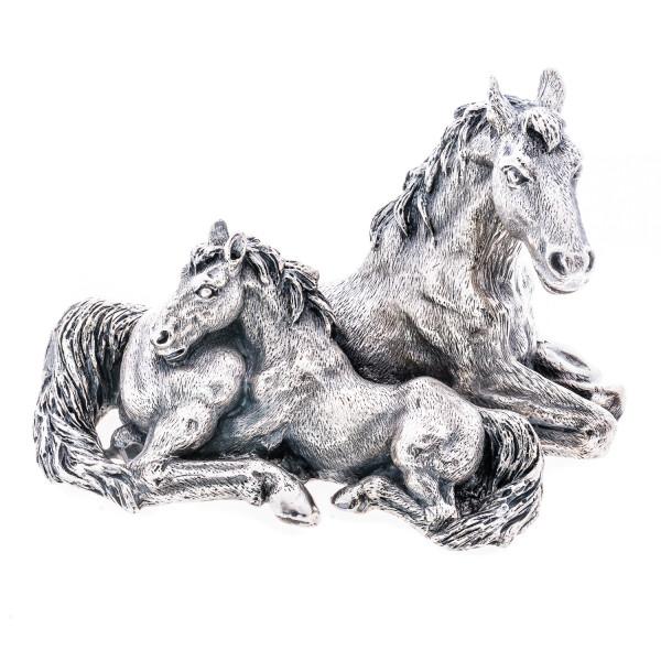 Stute mit Fohlen - versilberte Skulptur mit 925er Silber