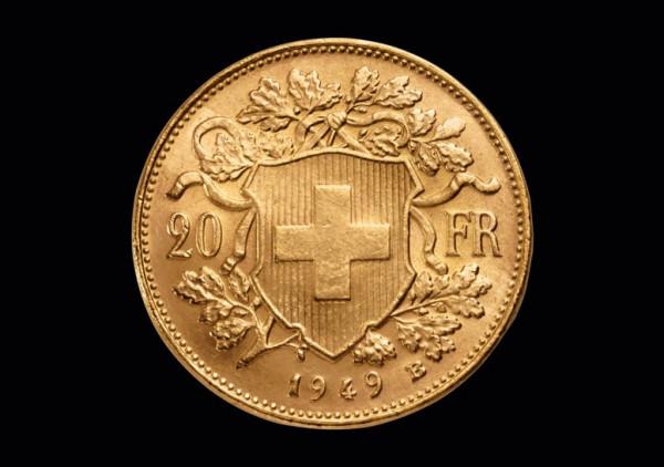 Vreneli 20 sfrs Goldmünze banküblich