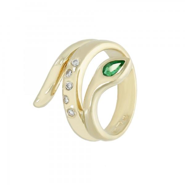 Ring 585 Gelbgold Schlange mit Smaragd + Diamanten