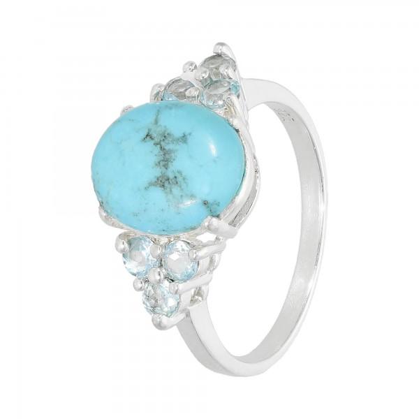 Ring 925 Silber mit Türkis und Blautopas