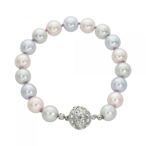 Perlenarmband grau/lila/rosa mit Magnetverschluss silber