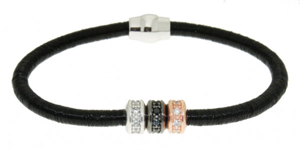 Armband Kupfer/Messing schwarz mit Zirkonia