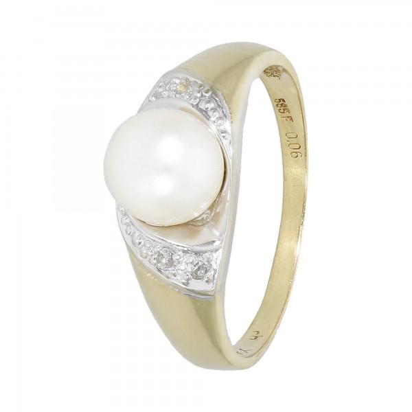 Ring bicolor 585 mit 1 Perle und Diamanten