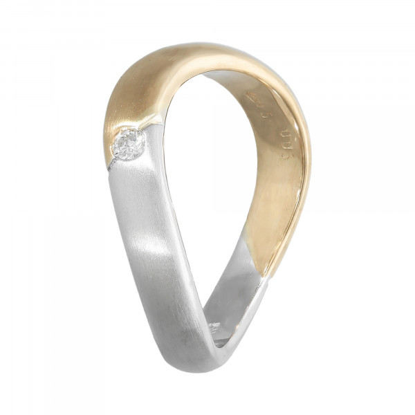 Ring 585 bicolor gewellt mit 1 Diamant