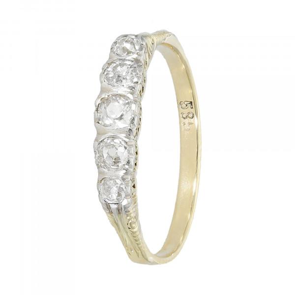 Ring 585 bicolor mit Diamanten Altschliff ca. 0,50 ct.