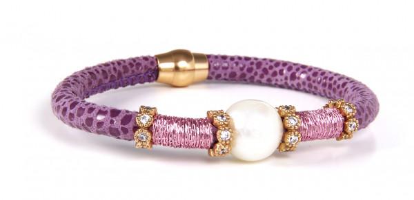 Armband Leder lila mit Perle + Zirkonia