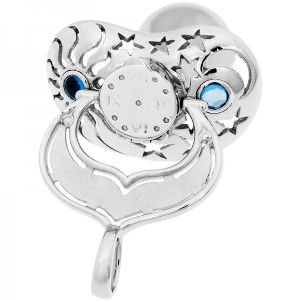 Lollino Anhänger, Motiv Sonne Mond & Sterne, strahlender Zirkonia blau