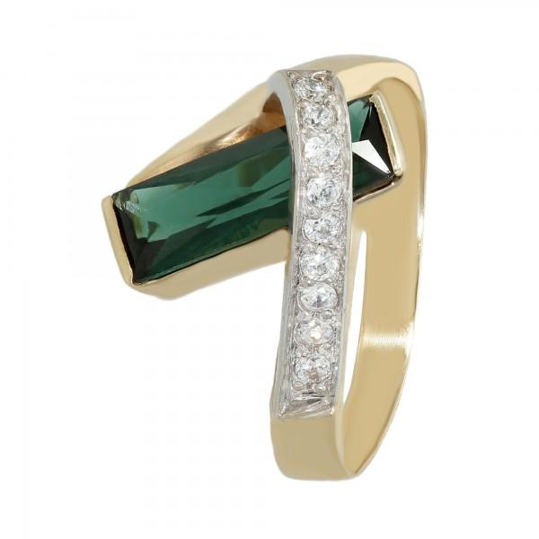 Ring 585 bicolor mit synth. Spinell grün und Zirkonia