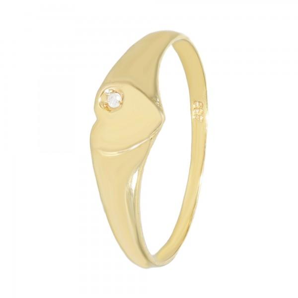 Ring 333 Gelbgold Herz mit Diamant