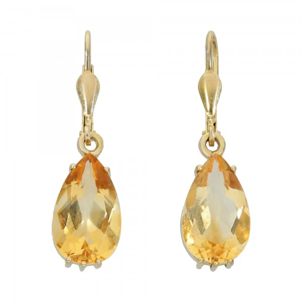 Paar Ohrhänger Gelbgold 333 mit Citrin