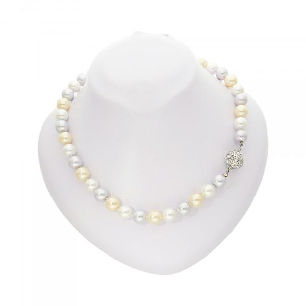 Perlenkette vanille/weiß/grau mit Magnetverschluss silber