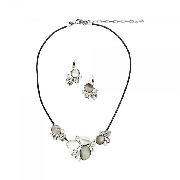 Set aus Collier & Ohrhängern mit Perlmutt und Kristallen