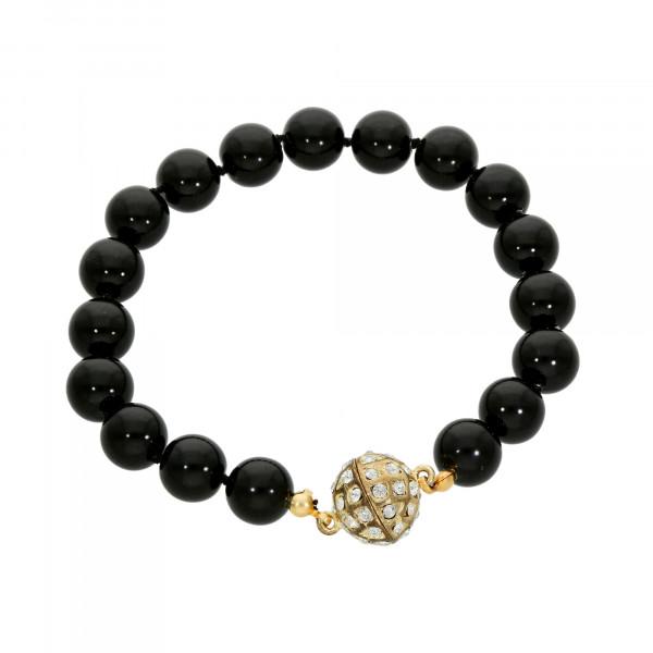 Perlenarmband schwarz mit Magnetverschluß goldfarbig