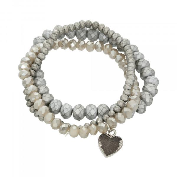Armband Kristall grau 3 teilig