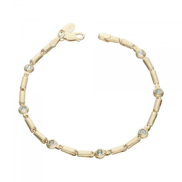 Armband 585 Gelbgold mit hellblau Steinen