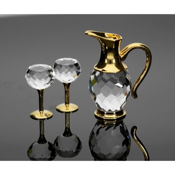 Swarovski Kristall-Figur Weinset 2 Gläser& Krug