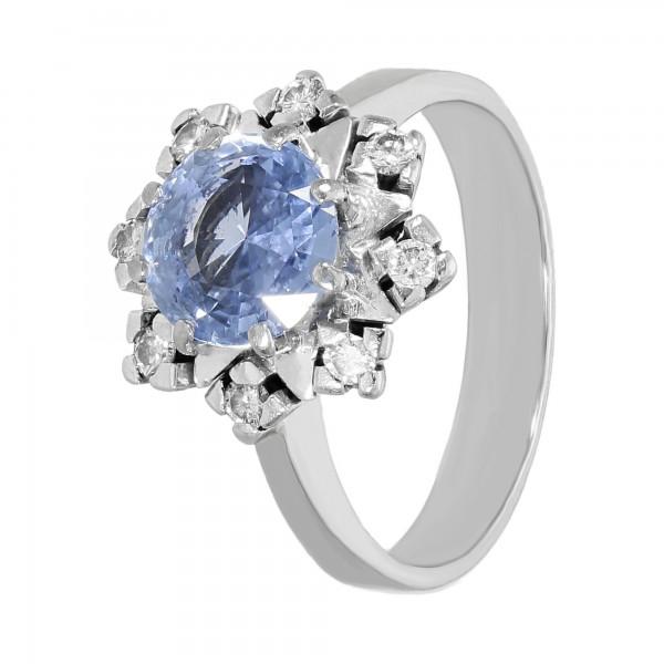 Ring 585 Weißgold mit violettem Saphir und Brillanten ca. 0,24 ct.