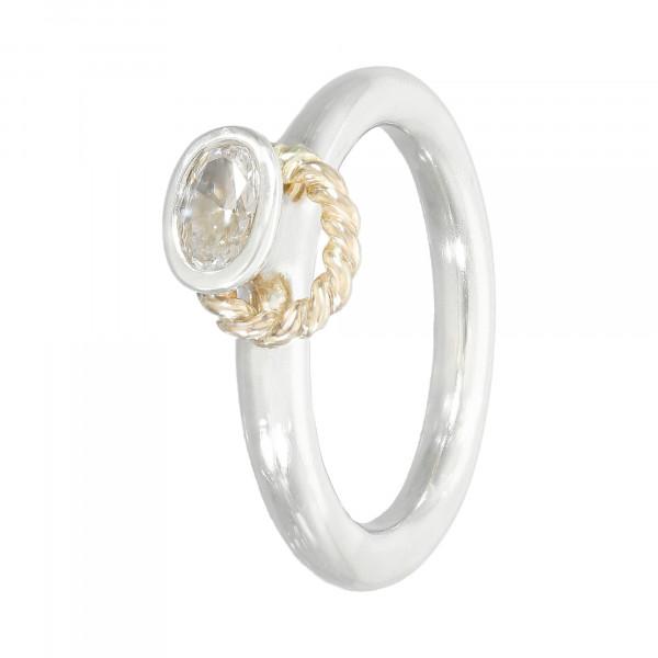 Ring Silber 925 mit Goldkordel 14 Karat
