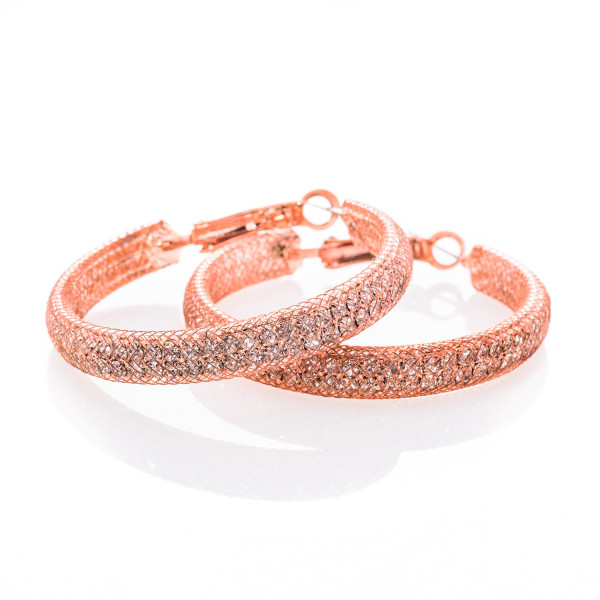 Creolen Metall roségoldfarbig mit Kristall-Steinen