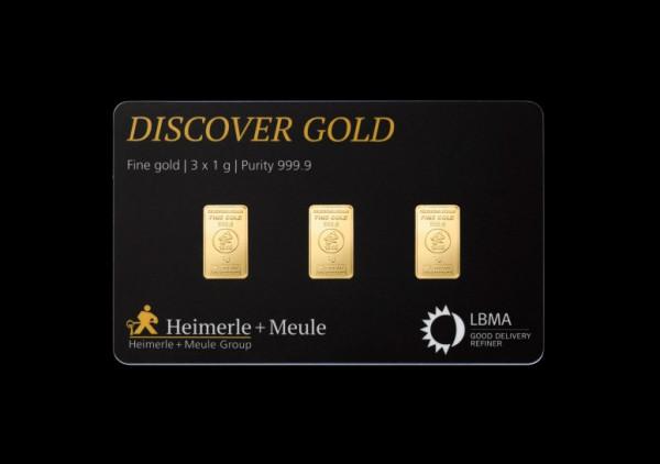 FineCard Discover Goldbarren 3 x 1 Gramm