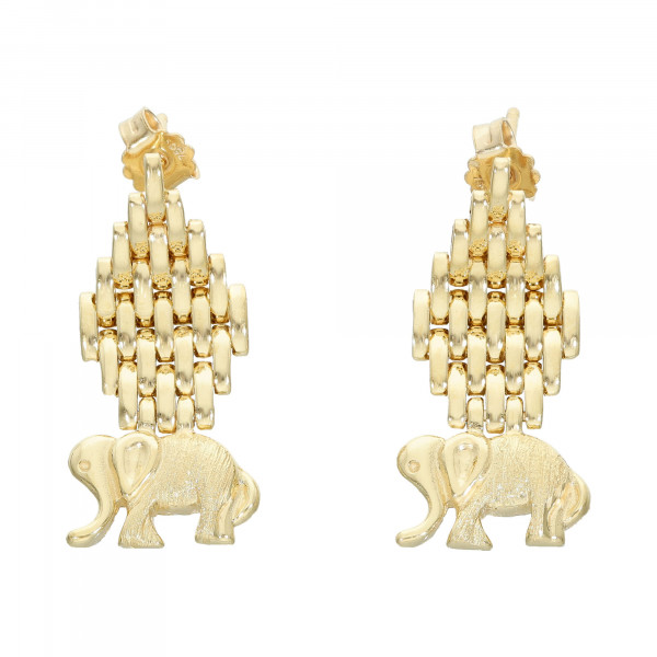 "Ohrstecker 750 Gelbgold hängend "" Elefanten """