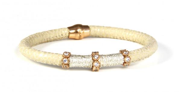 Armband Leder/Kupfer eierschale mit Zirkonia