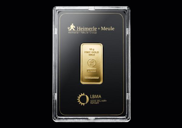 Goldbarren 10 Gramm H+M geprägt