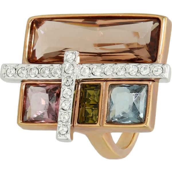 Ring vergoldet Swarovski mit 5 Kristallen