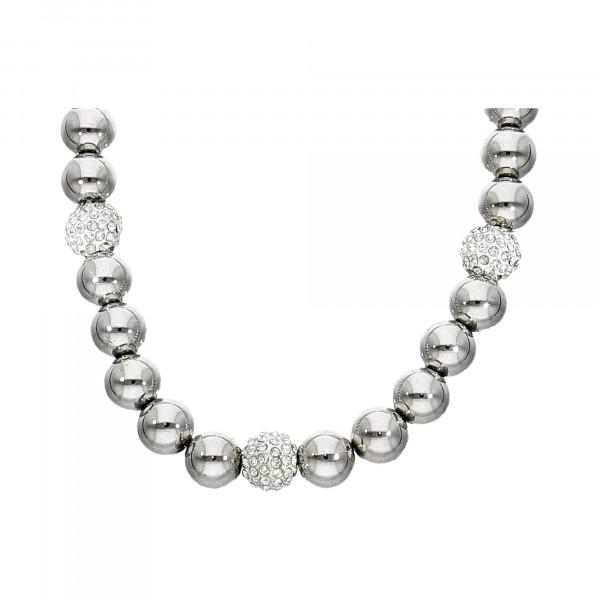 Collier Metall Kugel & Kristalle silber
