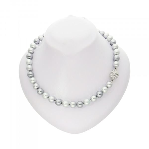 Perlenkette hellgrau/dunkelgrau mit Magnetverschluss silber