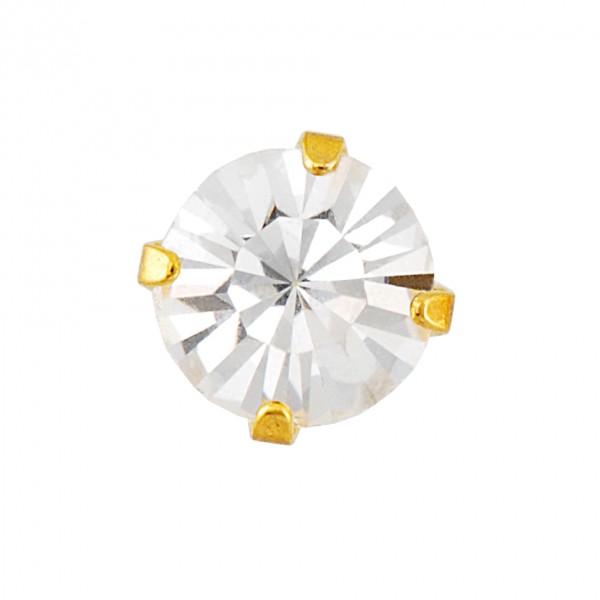 Ohrstecker Chirurgenstahl Zirkonia 5 mm vergoldet