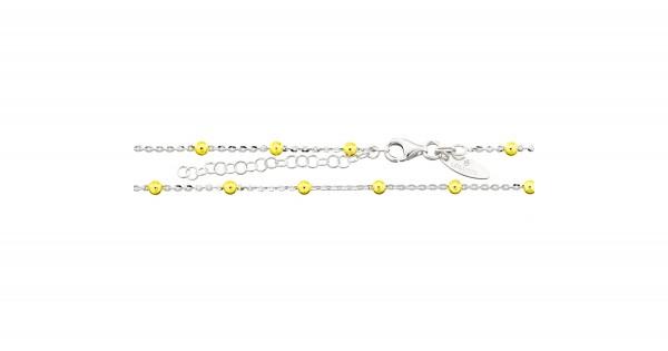 Kette 925 Silber/Gold Anker/Kugel 43-48 cm