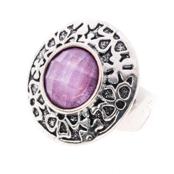 Elastik - Ring mit 1 Glitter Stein hell - lila