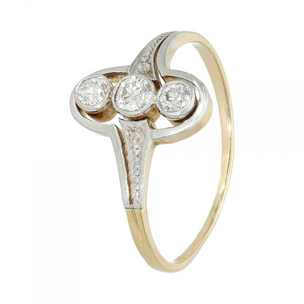 Ring 14 Karat bicolor mit Brillanten Altschiff + Rosen antik