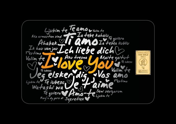 FineCard I Love You 1 x 1 Gramm Goldbarren