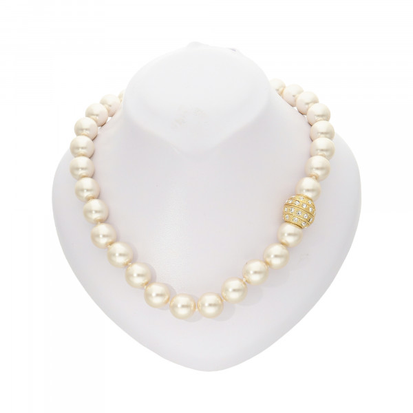 """Perlenkette """"XXL"""" cremefarben mit Magnetverschluss goldfarbig"""
