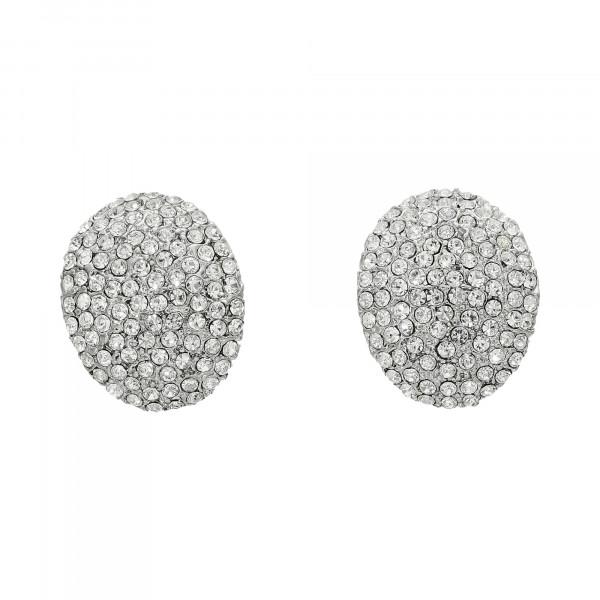 Ohrstecker Edelstahl oval mit weiß Kristallen