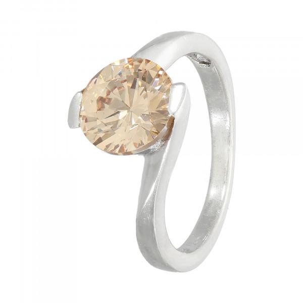Ring 925 Silber mit 1 Zirkonia pfirsichfarben