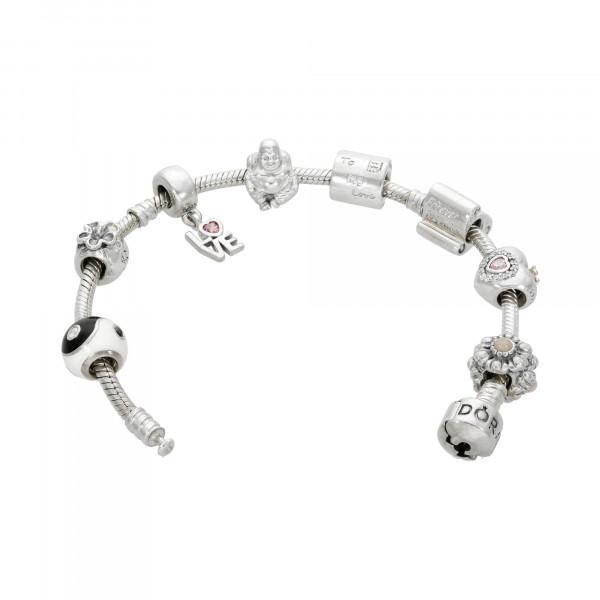 """PANDORA"" Armband Silber 925 mit 8 Anhängern"