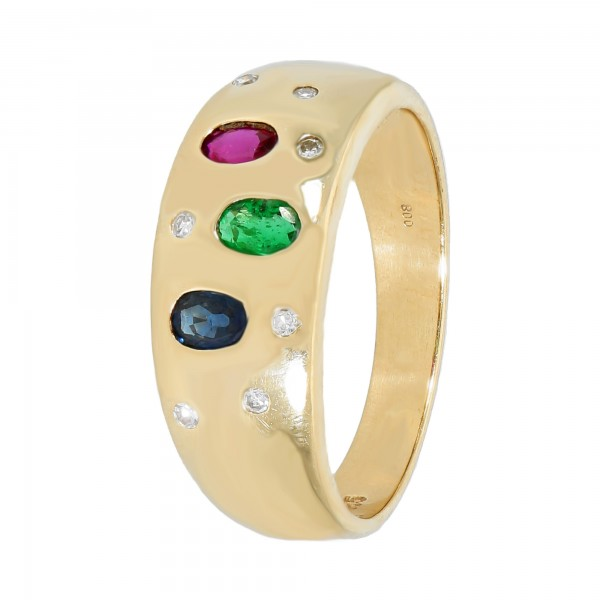 Ring Gelbgold 585 mit Farbedelsteinen und Brillanten