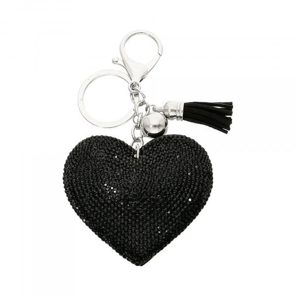 """Taschen-Anhänger Leder mit Kristallen schwarz """"Herz"""""""