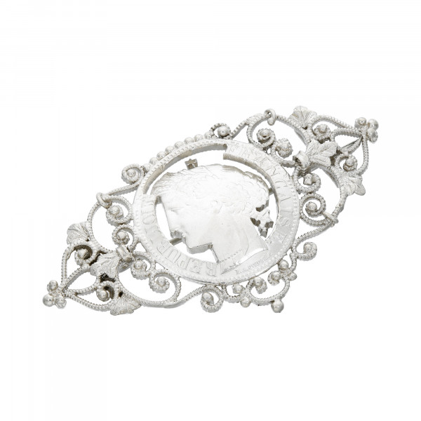 Brosche Silber filigrane - 2 Francs 1870 -