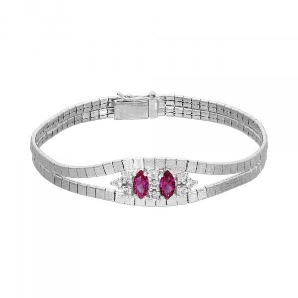 Armband Silber 835 mit Zirkonia + Farbsteinen
