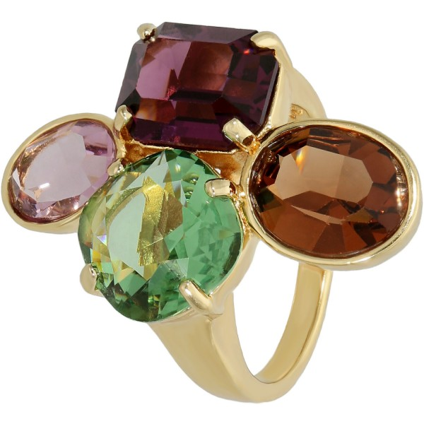 Ring vergoldet Swarovski mit Kristallen