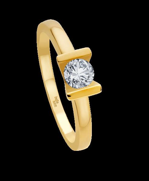 Ring 585 Gelbgold mit 1 Brillant 0,15ct W-SI