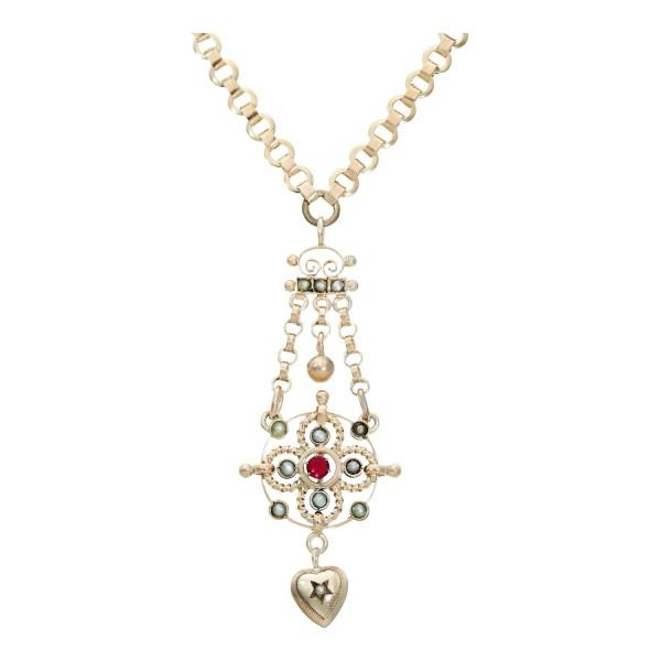 Collier doublé mit 1 rot Farbstein und kleinen grauen Perlen