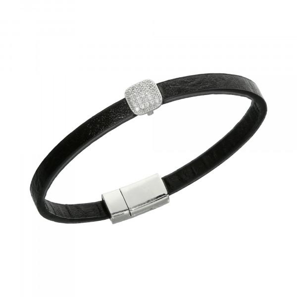 Armband Leder schwarz mit Kristallen Quadrat