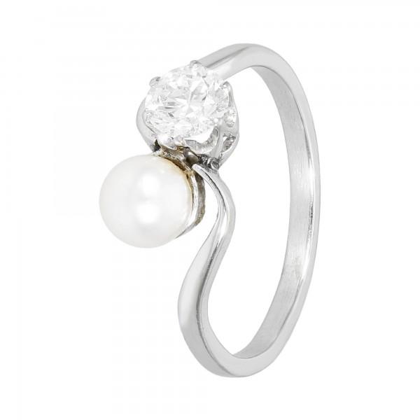 Ring 14 Karat Weißgold mit Perle + Brillant