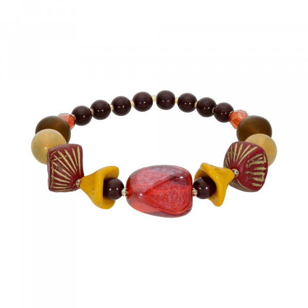 Armband Stretch böhmischen Glaselemente rot-bunt