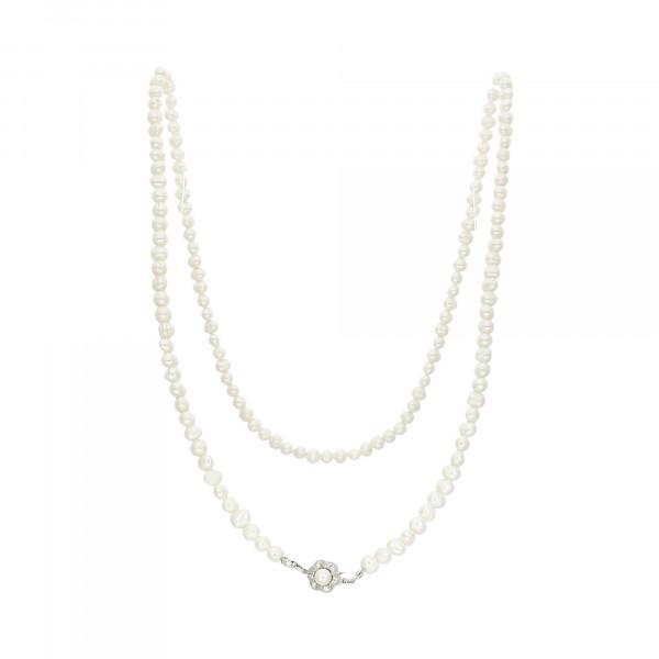 Perlenkette Süßwasser–Perlen mit Schloss Weißgold 750 142 Perlen